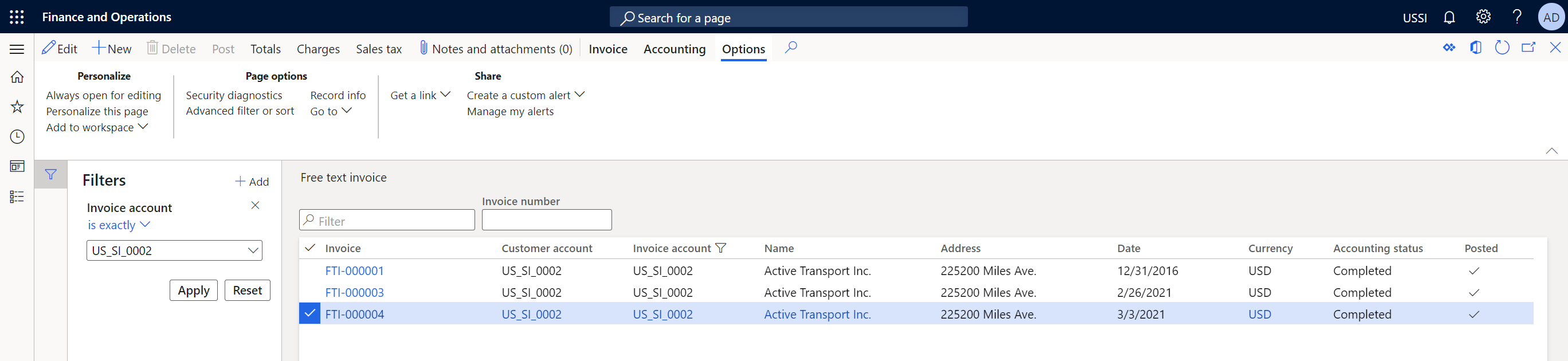 Finance And Operations Virtual Entity Integration - Invoices For Customer Account
