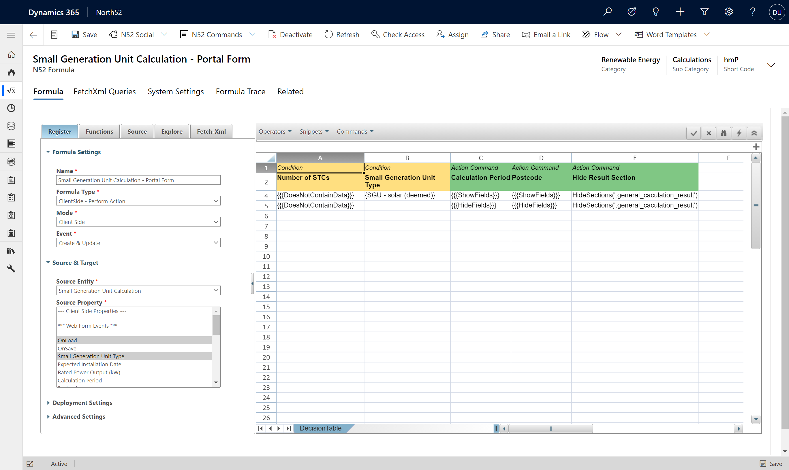 North52 Business Rules Engine, Decision Table for Dynamics 365 Portal Form