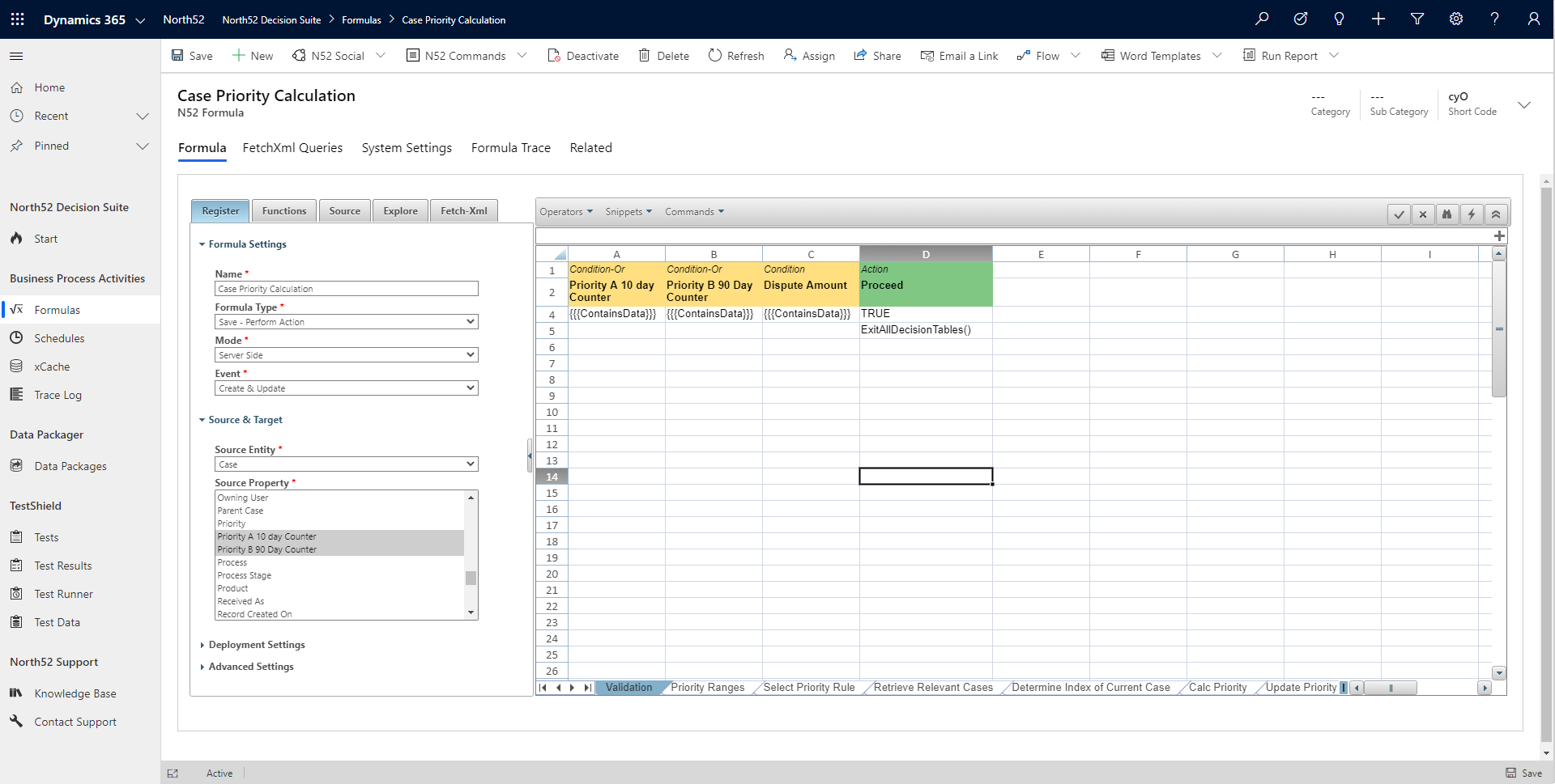 Validation Decision Table - North52 Business Rules Engine for Dynamics 365