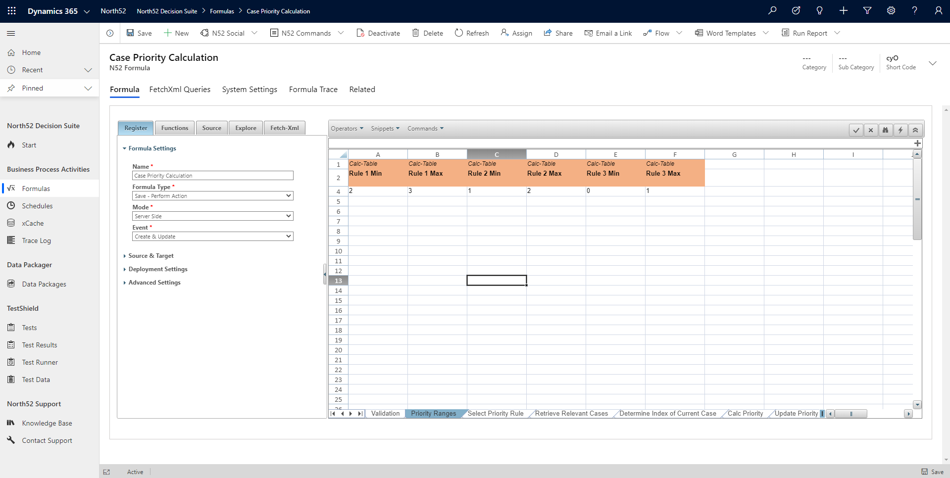 Priority Ranges Decision Table - North52 Business Rules Engine for Dynamics 365