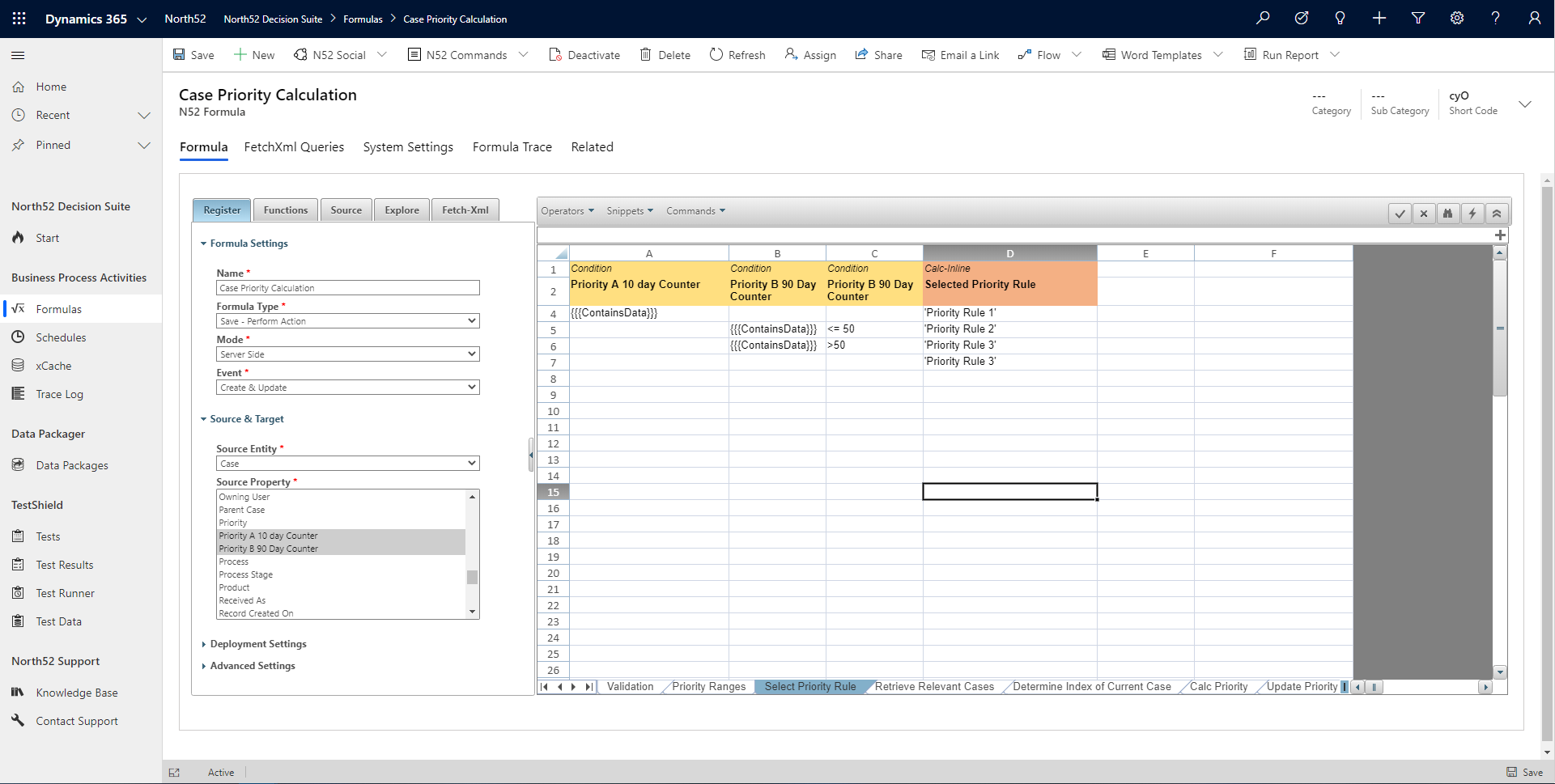 Select Priotity Rule Decision Table - North52 Business Rules Engine for Dynamics 365