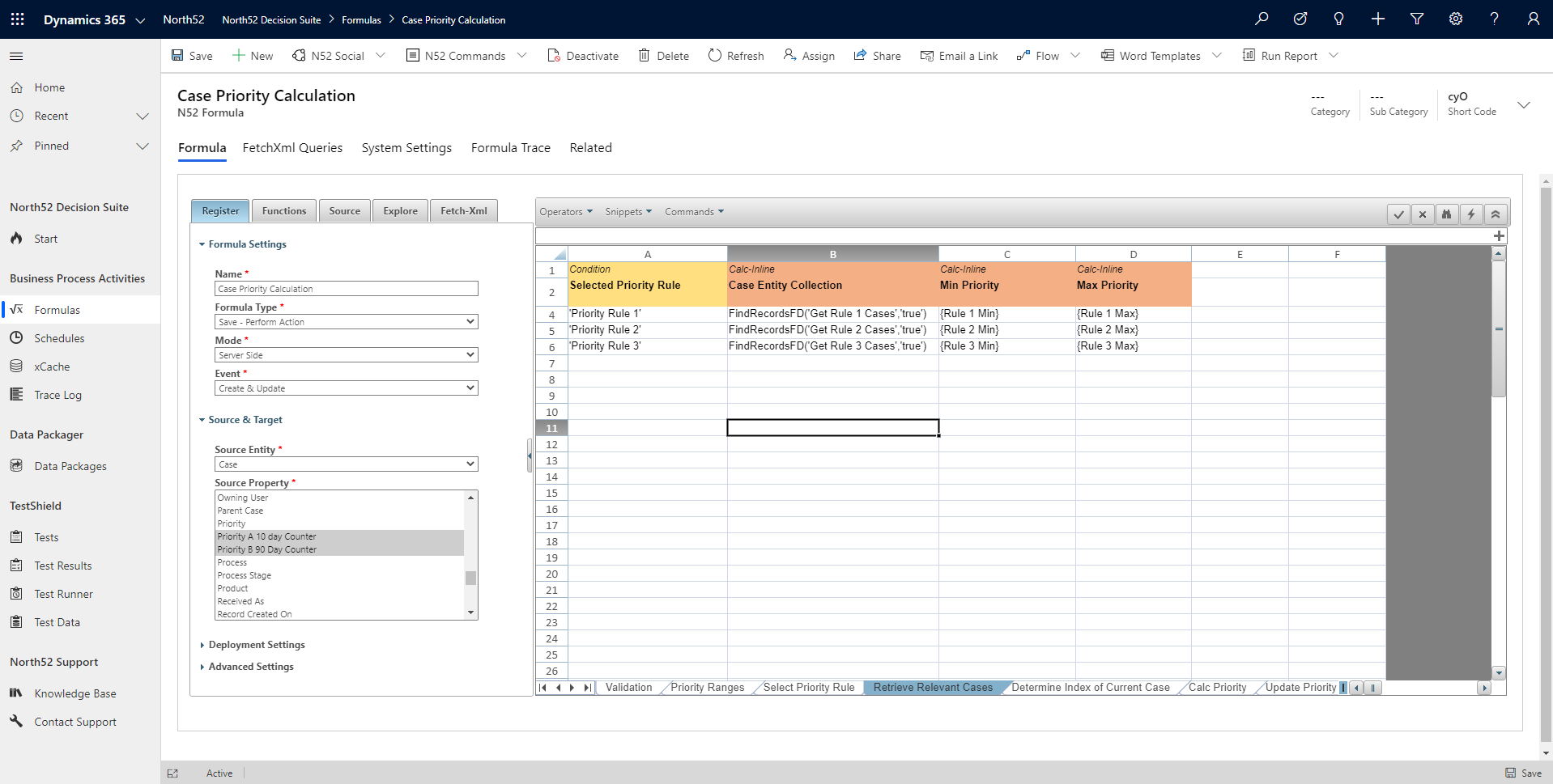 Retrieve Relevant Cases Decision Table - North52 Business Rules Engine for Dynamics 365