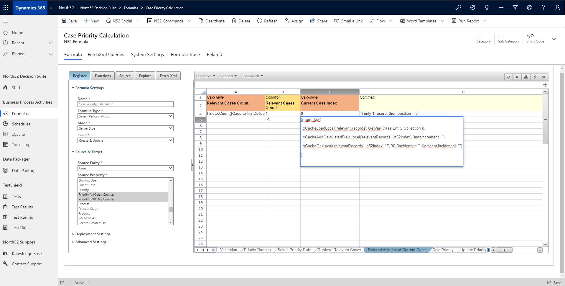 Determine Case Index Decision Table - North52 Business Rules Engine for Dynamics 365