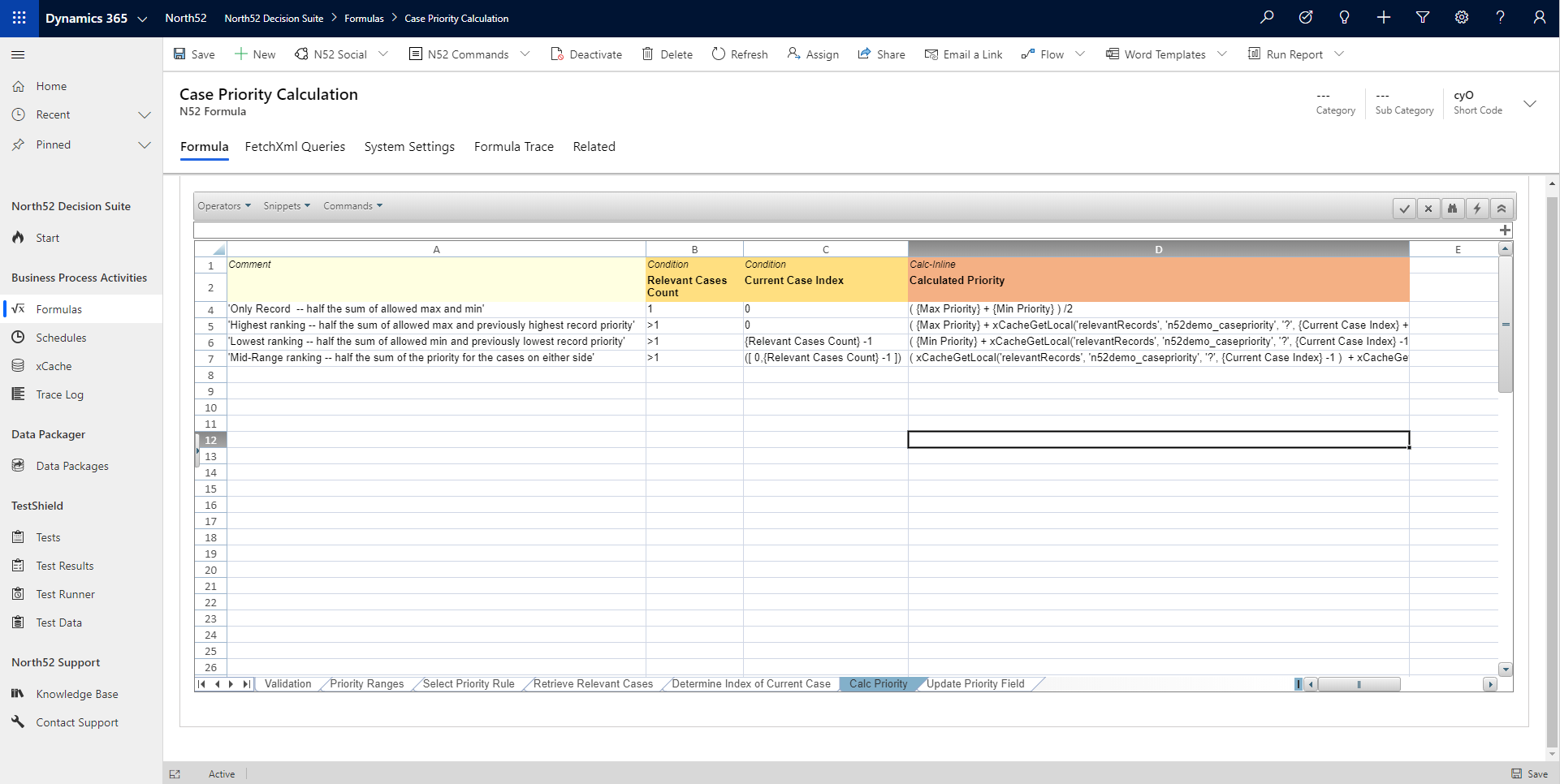 Calculate Priority Decision Table - North52 Business Rules Engine for Dynamics 365