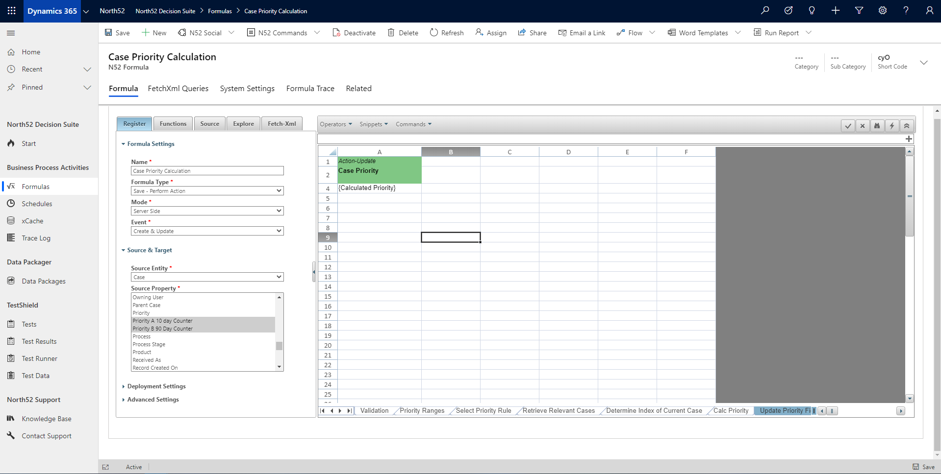 Update Priority Field Decision Table - North52 Business Rules Engine for Dynamics 365