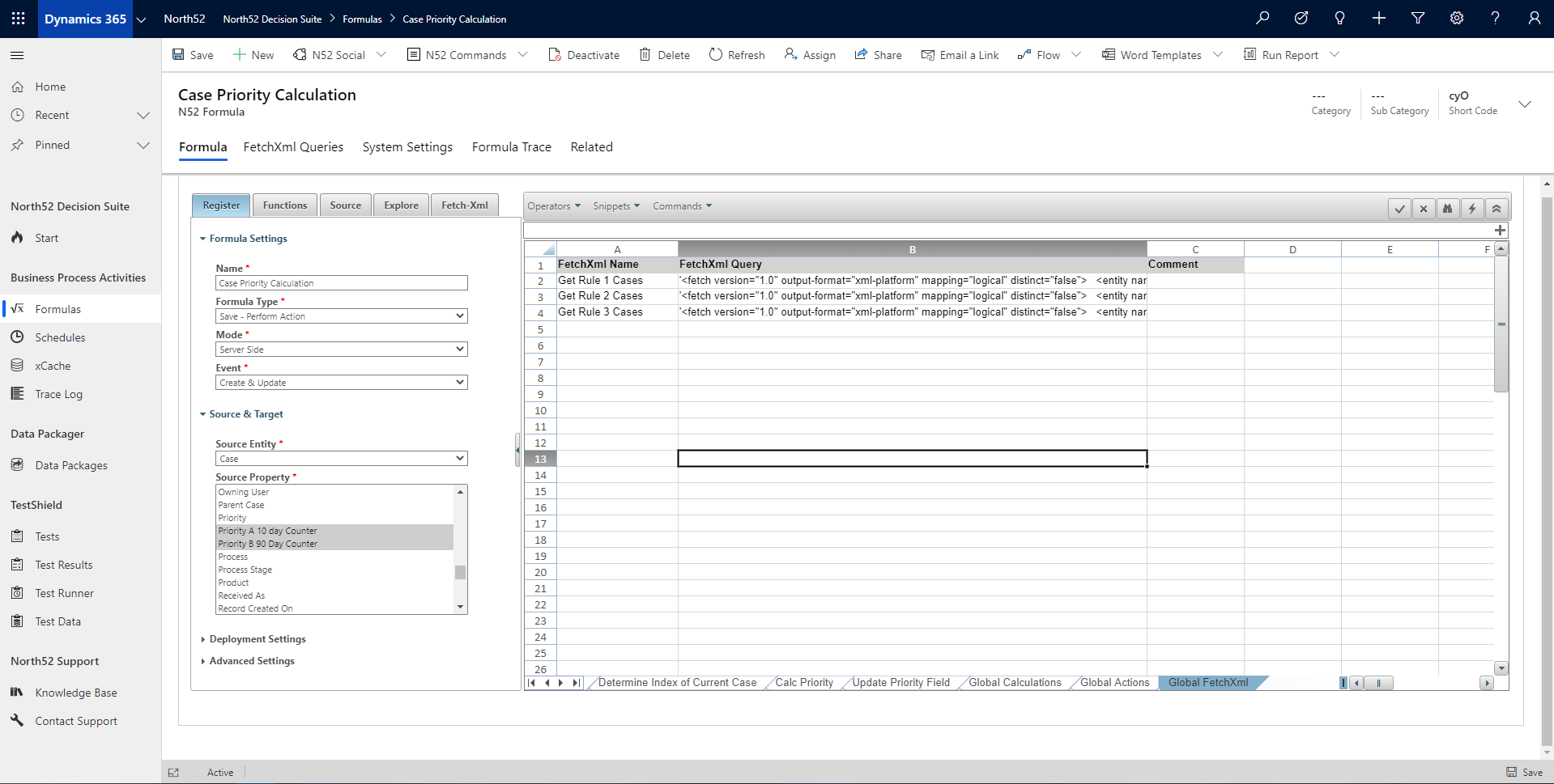 FetchXml Decision Table - North52 Business Rules Engine for Dynamics 365