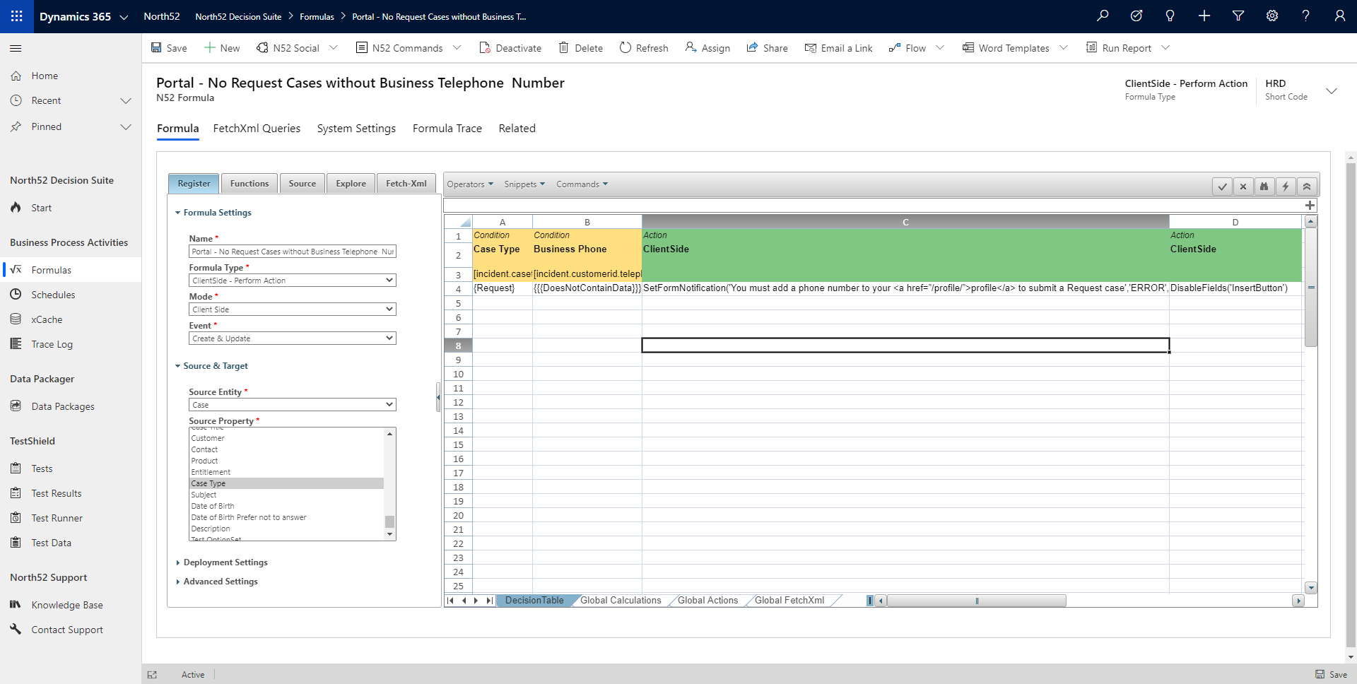 Eligibility Decision Table - North52 Business Rules Engine for Dynamics 365
