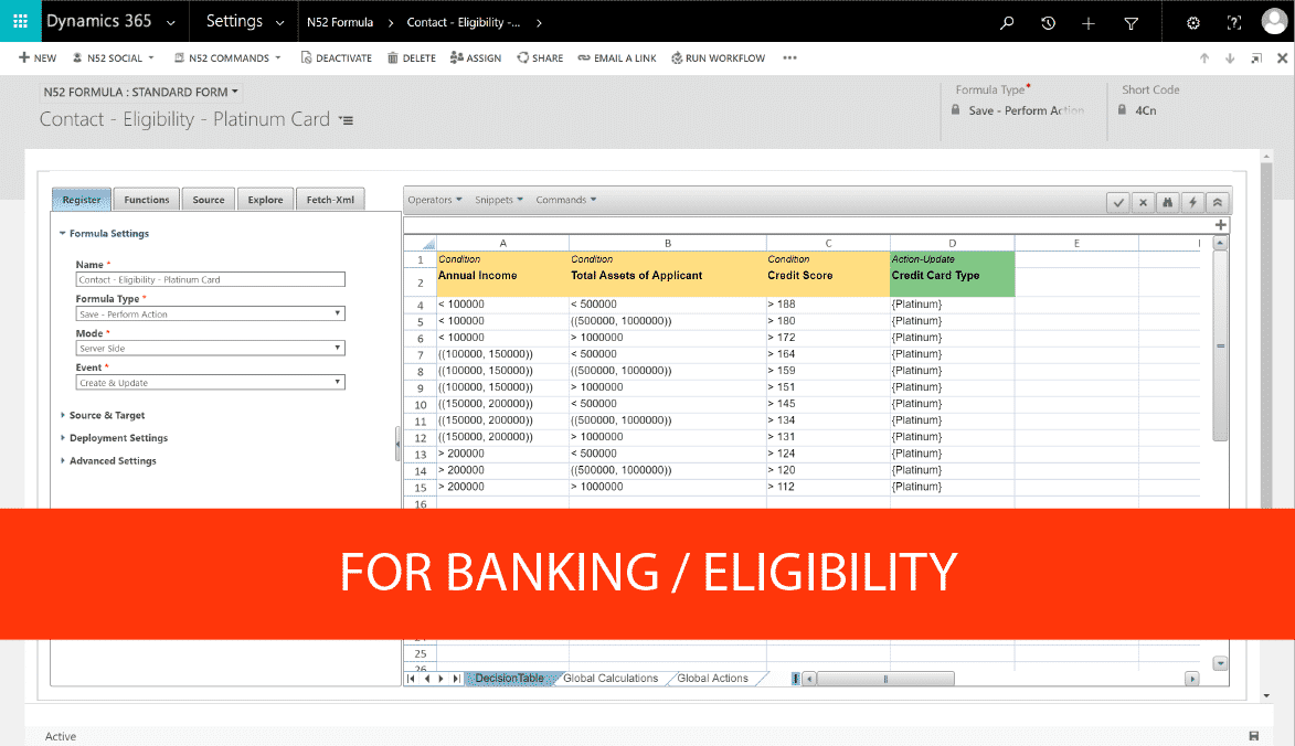 Decision Table Eligibility Example