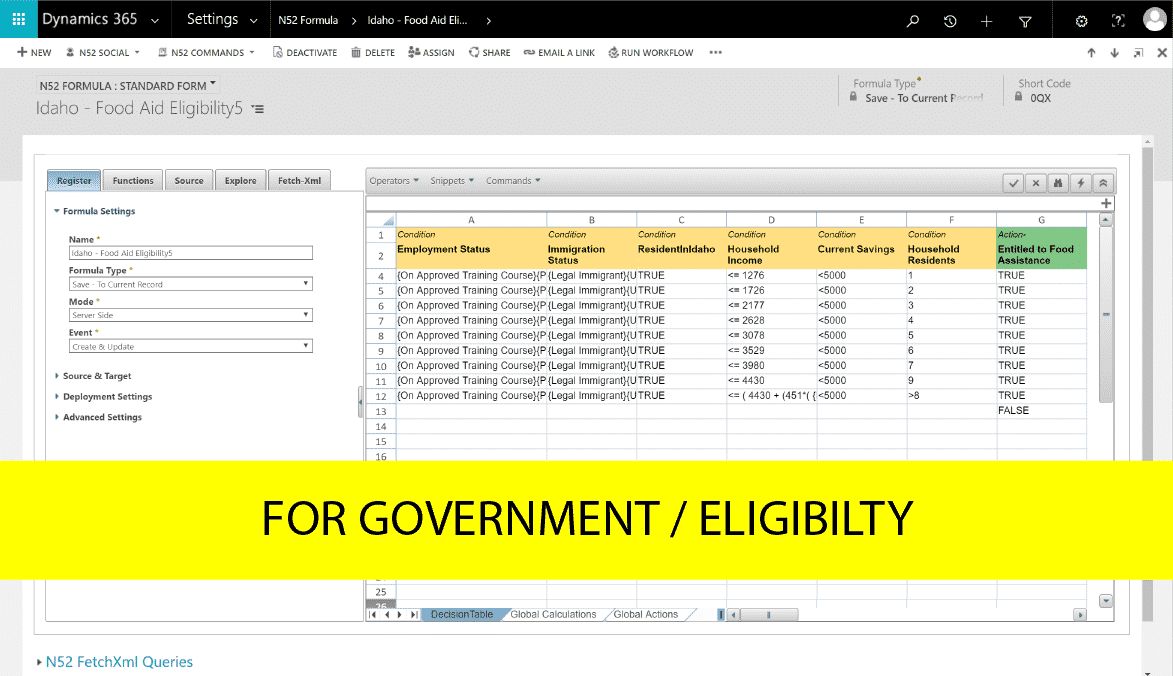 Decision Table Government Eligibility Example