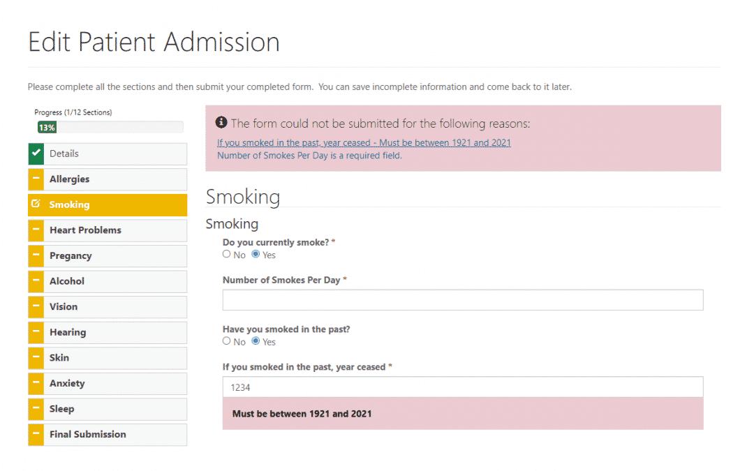 Complex Power Apps Portal Forms – Hospital Admission Questionnaire