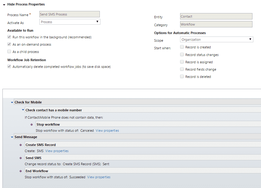 SMS Workflow Process
