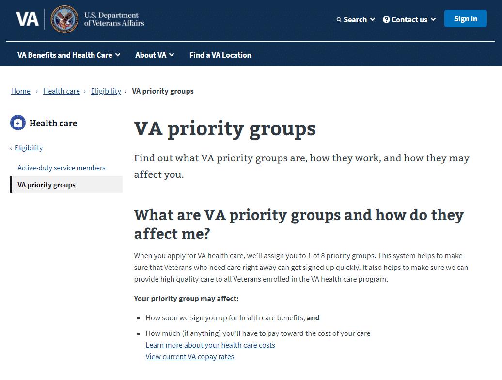 VA priority groups