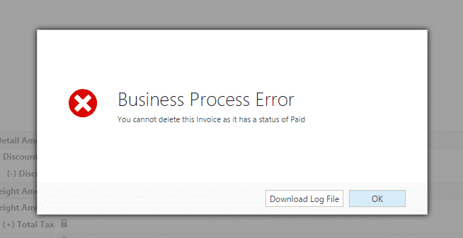 Business Rules Example #070 – Delete Validation check on Invoice