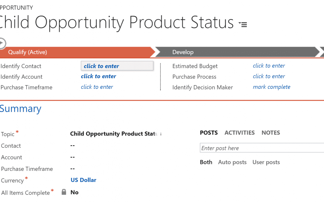 Business Rules Example #075 – Update Opportunity Parent when all Child Product are Completed